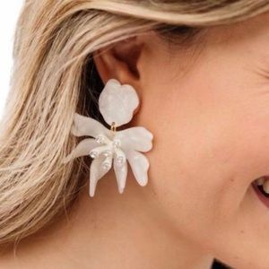 NWT Anthro Lele Sadoughi Crystal White Daffodils